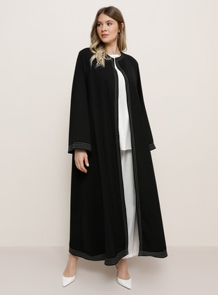 Black - Unlined - Plus Size Abaya - Alia
