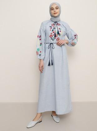 Blue - V neck Collar - Unlined -  - Dress