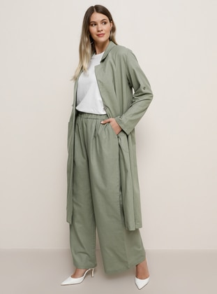 Sea-green -  - Plus Size Pants