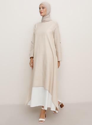 Beige - Crew neck - Unlined -  - Dress