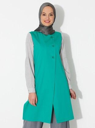 Green - Unlined - Crew neck - Viscose - Vest
