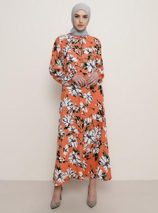 Orange - Floral - Crew neck - Dress