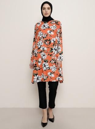 Orange - Floral - Crew neck - Tunic