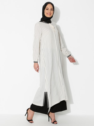 Black - Stripe - Unlined - Crew neck - Linen -  - Viscose - Abaya