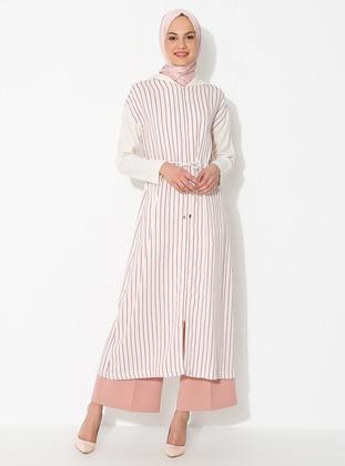 Red - Stripe - Unlined - Linen -  - Viscose - Abaya