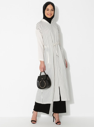 Black - Stripe - Unlined - Linen -  - Viscose - Abaya