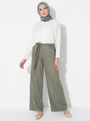 Khaki - Linen - Viscose - Pants