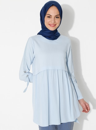 Blue - Stripe - Crew neck - Tunic