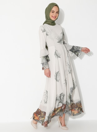 Khaki - Floral - Crew neck - Fully Lined - Dress