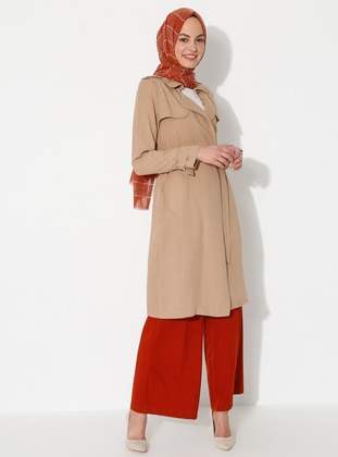 Camel - Point Collar - Unlined - Viscose - Dress