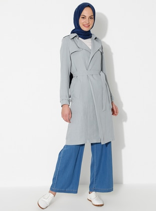 Gray - Point Collar - Unlined - Viscose - Dress