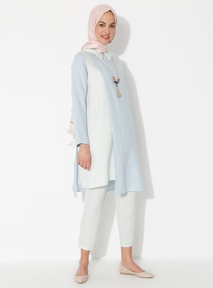 Blue - Unlined - Linen - Viscose - Suit