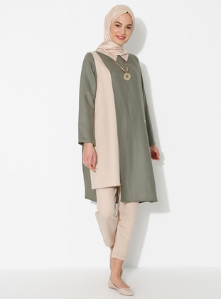 Khaki - Unlined - Linen - Viscose - Suit