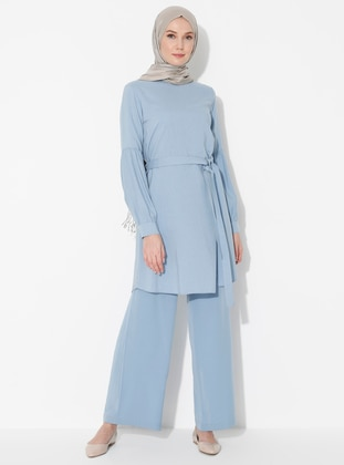 Blue - Unlined - Viscose - Suit