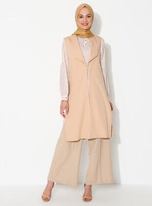 Brown - Unlined - Shawl Collar - Viscose - Vest