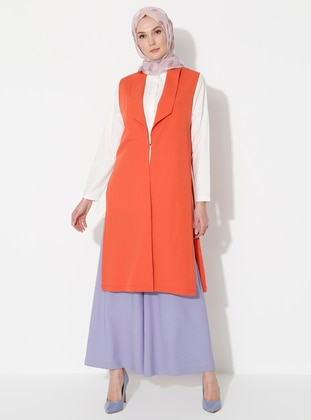 Terra Cotta - Unlined - Shawl Collar - Viscose - Vest
