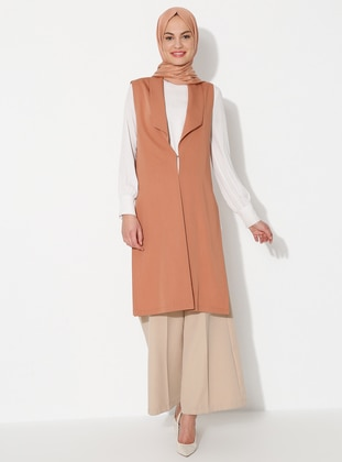 Cinnamon - Unlined - Shawl Collar - Viscose - Vest