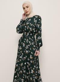 Yeşil - Çiçekli - Yuvarlak yakalı - Viskon - Elbise