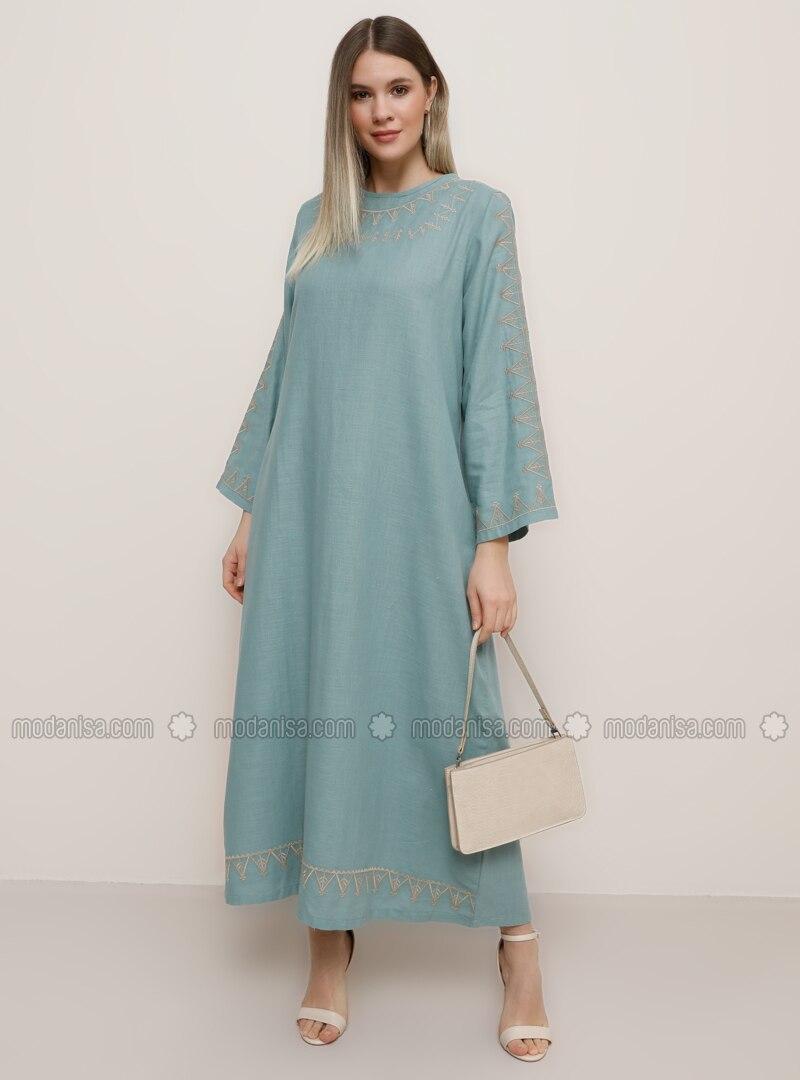Pastellgrün - Rundhalsausschnitt - - Kleid G.G.