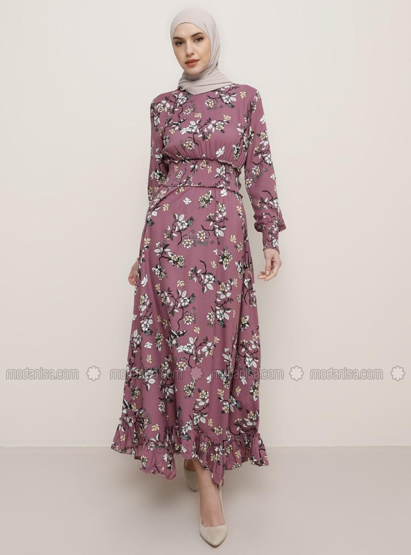 Dusty Rose - Floral - Crew neck - Viscose - Dress