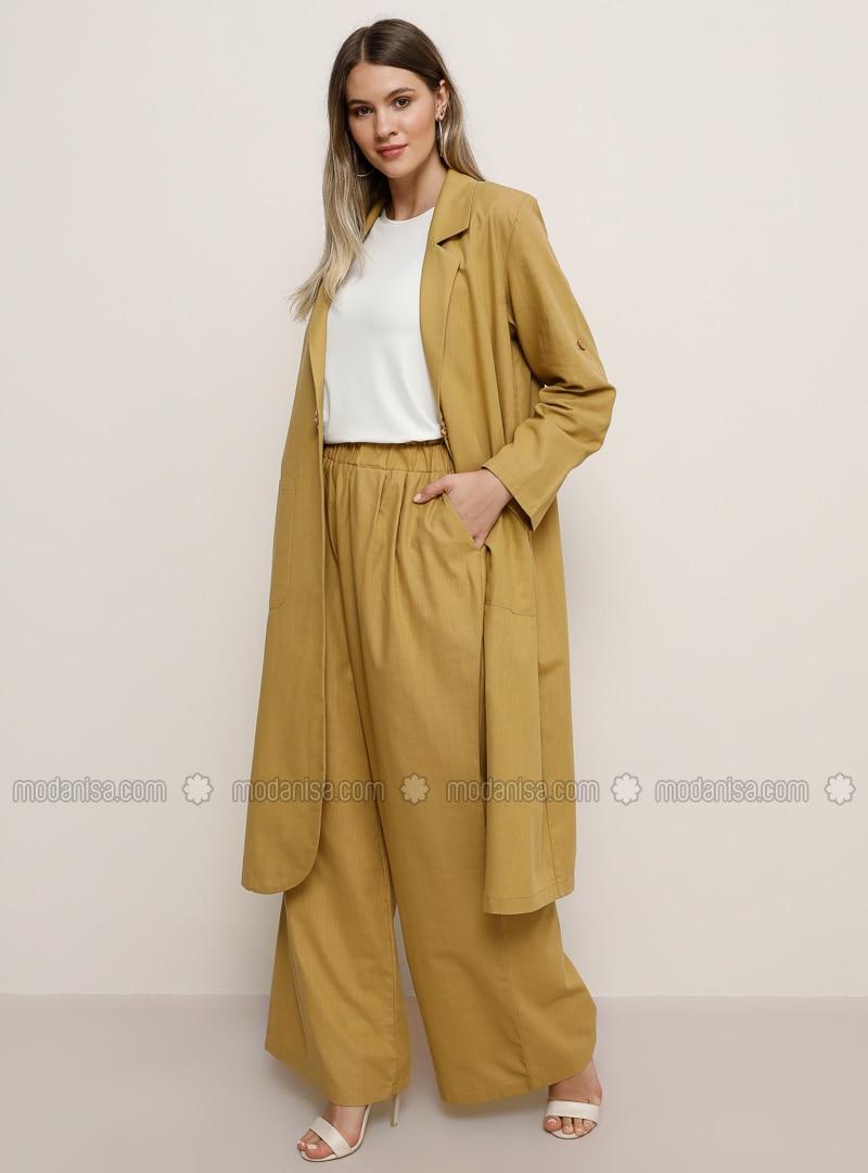 Mustard -  - Plus Size Pants