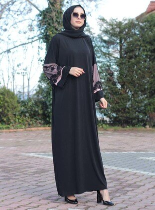 Pink - Black - Unlined - Crew neck - Viscose - Abaya