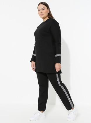 Black - Crew neck - Plus Size Suit