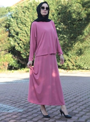 Pink - Unlined - Viscose - Suit