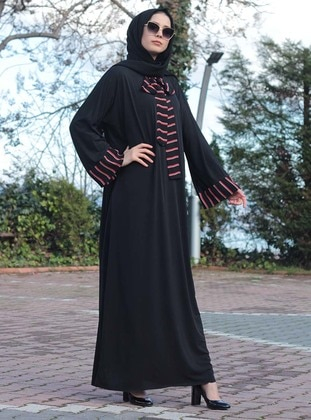 Black - Stripe - Unlined - Crew neck - Viscose - Abaya