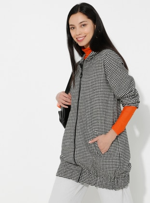 Black - Houndstooth - Unlined - - Topcoat