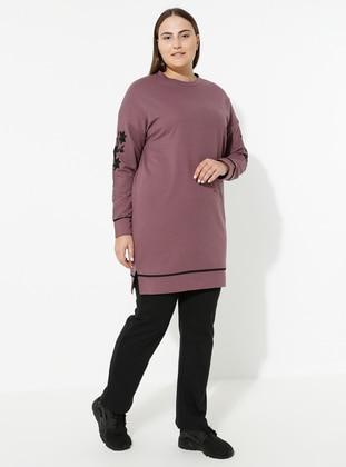 Lilac - Crew neck - Plus Size Suit