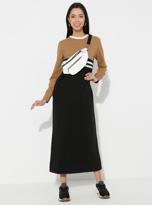 Camel - Black - Stripe - Crew neck - Unlined -  - Dress