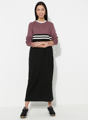 Dusty Rose - Lilac - Stripe - Crew neck - Unlined - - Dress