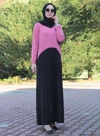 Pink - Black - Crew neck - Unlined - Viscose - Modest Dress