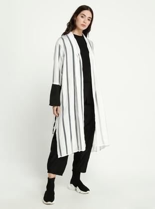 White - Black - Stripe - Topcoat