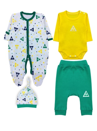Multi - Crew neck -  - Unlined - Green - Baby Suit - BY LEYAL