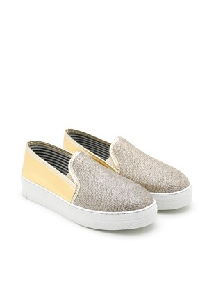 Gold - Flat - Casual - Flat Shoes