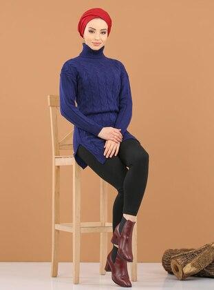 Navy Blue - Saxe - Polo neck - Acrylic -  - Tunic