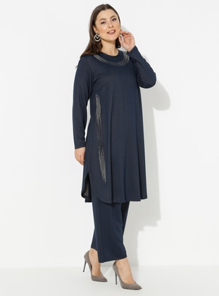 Indigo - Navy Blue - Crew neck - Unlined - Viscose - Plus Size Suit - GELİNCE