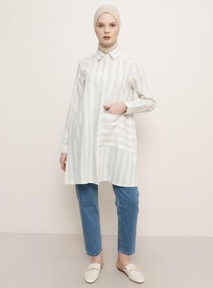 Beige - Stripe - Point Collar - Tunic