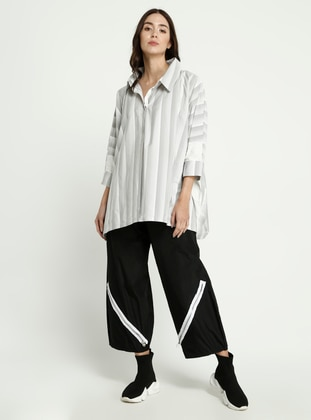 Gray - Stripe - Point Collar - Blouses
