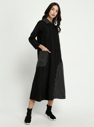 Black - Checkered - Point Collar - Dress