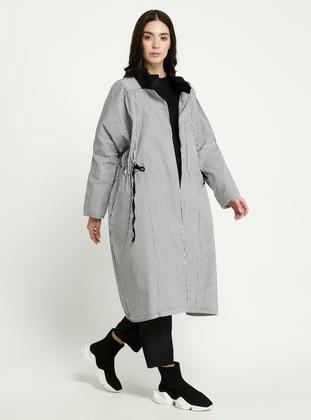 White - Black - Stripe - Trench Coat
