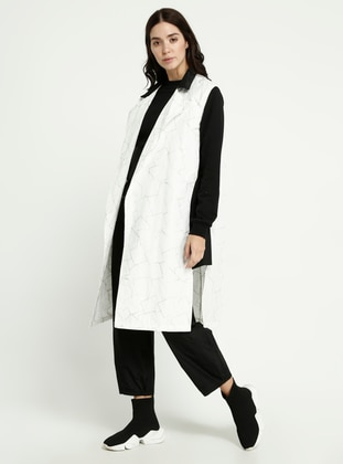 White - Black - Multi - Shawl Collar - Vest