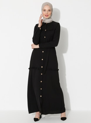 Black - Unlined - Point Collar - Dress