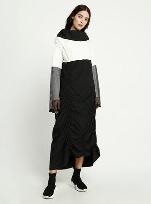 White - Black - Polo neck - Dress