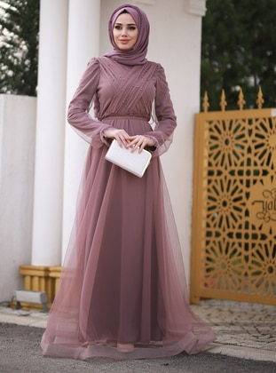 Dusty Rose - Fully Lined - Crew neck - Viscose - Muslim Evening Dress - Lavienza