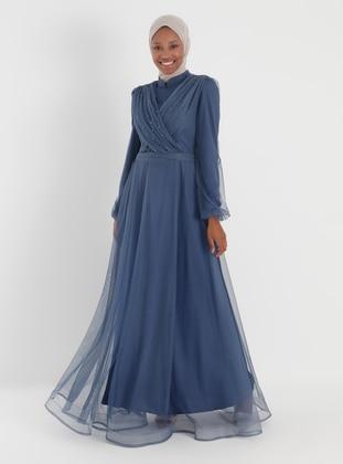 Indigo - Fully Lined - Crew neck - Viscose - Muslim Evening Dress