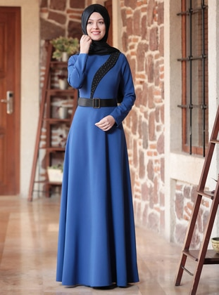 Indigo - Crew neck - Unlined - Crepe - Dress