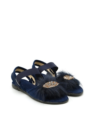 Navy Blue - Flat - Sandal - Sandal